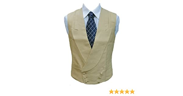 "Double Breasted Irish Linen Waistcoat in Sand 46/"" Long"