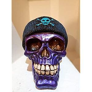 Handgefertigte Spardose Purple Skull