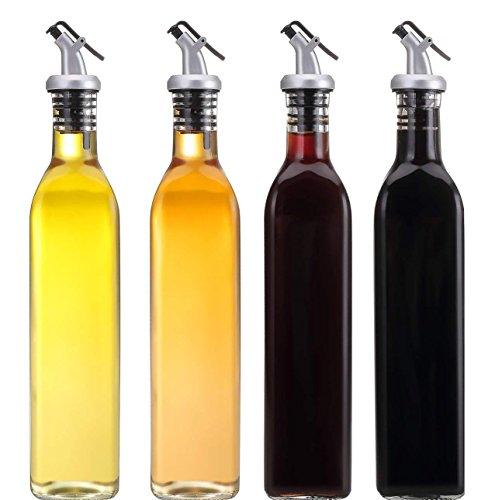 Essig und Öl Set Spender 17Unzen Glas Öl Flasche Topf Lecksicher Olivenöl/Essig/Sauce Kännchen Spender, 4Stück - Top Cruet