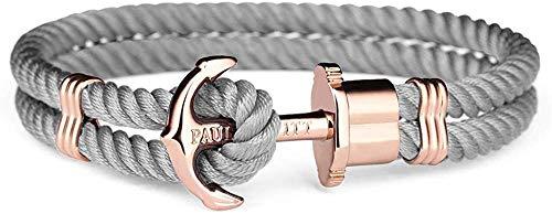 PAUL HEWITT Anker Armband Damen PHREP - Segeltau Armband Frauen (Grau), Armband Damen mit Anker Schmuck aus IP-Edelstahl (Rosegold)