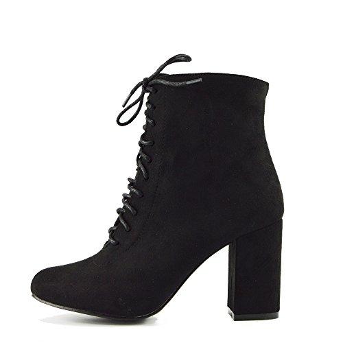 Kick Footwear Donna con Tacco Caviglia, Zip Laterale Stivali in Pizzo Casual Tacco Grosso Scarpe Nero