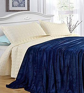 Grand King-bett (cozy-flannel Thermo-Decke/Überwurf-Snuggle in diese Super Warm Kuscheldecke. Einfach Pflege und extra weicher Stoff, Couch Überwurf Twin, Full/Queen und King Bett Größen, 100 % Polyester, navy, Twin)