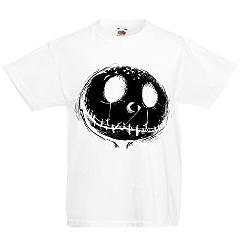 T shirts for kids Scary moon (7-8 years White Multi