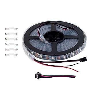BTF-LIGHTING WS2801 5050 SMD RGB 32Leds/m 128leds Addressable Individual Waterproof IP67 Black PCB Pixel Strip Light DC5V 4M 13.1ft