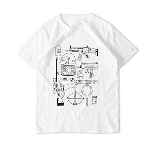 T-Shirt Sommer Männer und Frauen Kurze Ärmel Spiel PUBG Handbemalte Stil Ausstattungsserie Geeignet für Sommerkleidung,White,2XL -