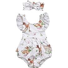 XXYsm Baby Bodys M/ädchen Sommer R/üschen /Ärmel Kitz Print Spieler Strampler Overall Spielanzug Jumpsuit Achselbody mit Stirnband f/ür Neugeborenes M/ädchen 0-18 Monate