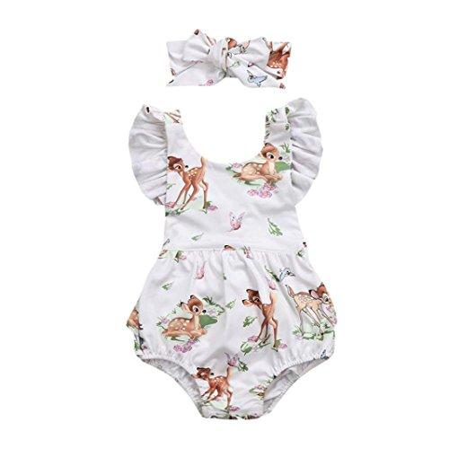 XXYsm Baby bodys Mädchen Sommer Rüschen Ärmel Kitz Print Spieler Strampler Overall Spielanzug Jumpsuit Achselbody mit Stirnband für Neugeborenes Mädchen 0-18 Monate (Beige, 0-3 Monate)