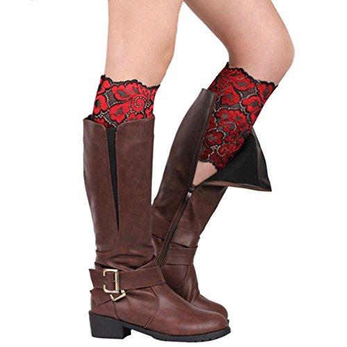 Saingace Frauen-Ausdehnungs-Spitze-Stiefel-Bein-Stulpen-weiche geschnürte Stiefel-Socken (Rot) (Spitzen-stretch-stiefel)