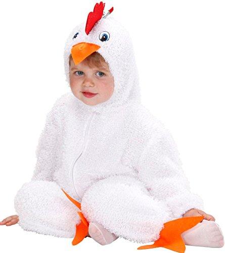 Karneval-Klamotten Kostüm Hühnchen weiß mit Kopf Baby Karneval Tier Kinderkostüm Größe ()