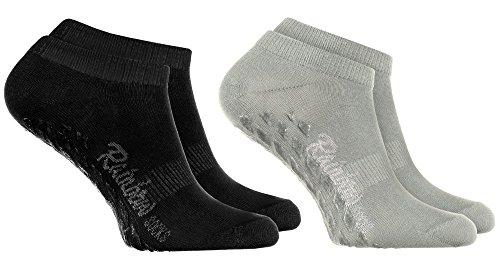 Rainbow Socks 2 Paar Kurze ANTIRUTSCH-Socken by Baumwollereiche STOPPERSOCKEN, ideal für: Glatte Fußböden Yoga Trampolinspringen GRAU SCHWARZ 39/41 Oeko-Tex-Zertifikat, Made in EU