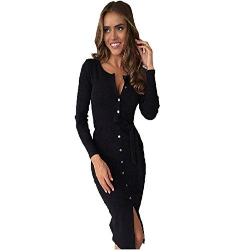 Rcool Elegante Damen Paket Hüfte schlank Taste Bleistiftrock Business Cocktail-Kleid mit V-Ausschnitt (S, Schwarz) (Baumwoll-satin-bleistift-rock)