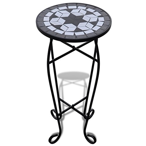 Mosaic Side Table Plant Table Black White