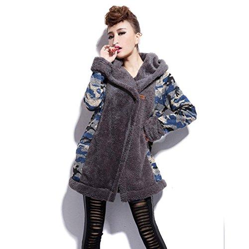 Zeagoo Damen Winter Parka Wollmischung langer Mantel gepolsterte Jacke