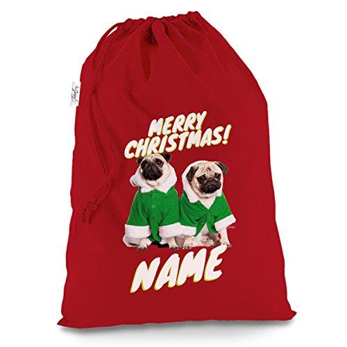 personalisierbar Santa Kostüm Mops groß rot Weihnachten Santa Sack Geschenk Tüte (North Pole Elf Kostüm)
