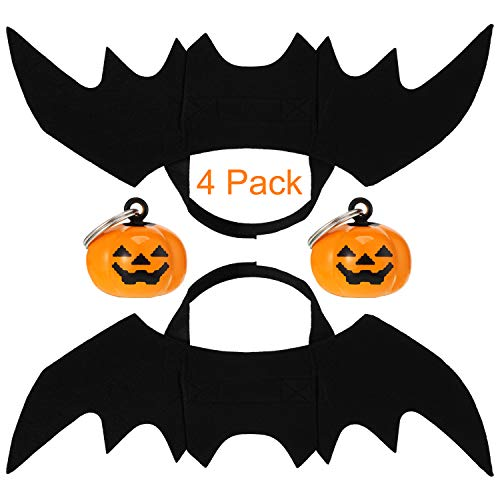 Boao 4 Stück Halloween Haustier Kostüm Fledermaus Flügel, Halloween Haustier Hund Fledermaus Flügel Katze Fledermaus Kostüm, Haustier Kürbis - Machen Fledermaus Flügel Kostüm