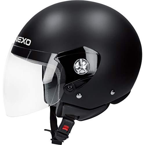 Nexo Motorradhelm, Halbschalenhelm, Jethelm Demi Jet Helm City Mattschwarz M, Unisex, Chopper/Cruiser, Ganzjährig, Thermoplast, matt schwarz