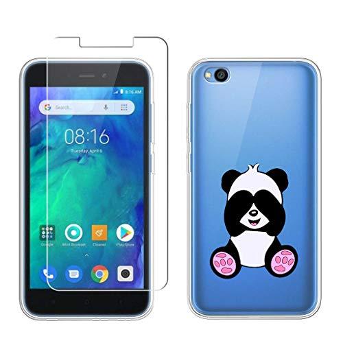 "LJSM Funda para Xiaomi Redmi Go + Protector de Pantalla Templado Film Película Protectora - Transparente Carcasa Silicona TPU Suave Caso Case para Xiaomi Redmi Go (5.0"") -BF36"