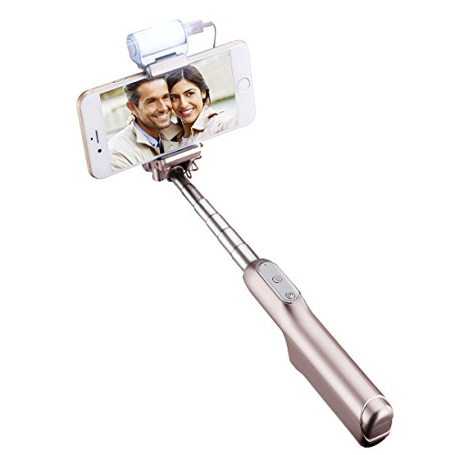 Selfie Stick, Mpow Bluetooth Einbeinstativ mit integrierter Fernbedienung Auslöser und Led Fülllicht, 270 Grad Verstellbar, Ideal für iPhone 6S/6/6 Plus, HTC, LG G5, Moto X/G und meisten Handys Iphone 6-instant Kamera