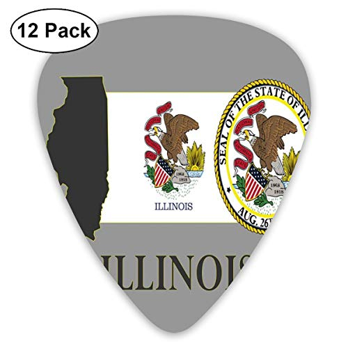 National Union (Celluloid Guitar Picks - 12 Pack,Abstract Art Colorful Designs,Illinois State Map National Union Seal Coat Of Arms With Eagle American Borders,For Bass Electric & Acoustic Guitars.)
