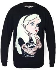 Punk Disney Alice In Wonderland Rebel Tatouage Sweatshirt Pull over Femme Top gothique emo
