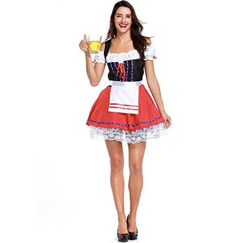 QQWE Frauen Sexy Beer Girl Kostüm, Oktoberfest German Fancy Maid Dress, Halloween Karneval Performance - Oktoberfest Fancy Dress Kostüm