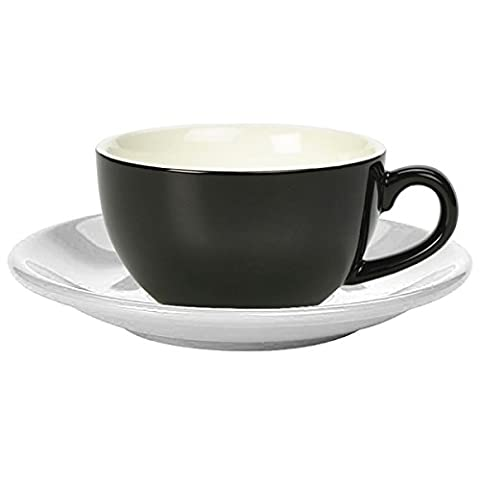 Royal Genware Black Cappuccino Cup and White Saucer 8.8oz / 250ml - Set of 6 - Coffee Cup with