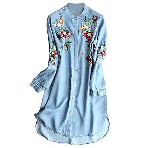 Ruffled Sleeve Denim Bluse (MAYOGO Damen Kleider Kleider Sommer Damen Kurz Denim Blusen Kleid Gestickt Blumen Taste Langarm Tshirt Kleider Große Größen Sommerkleider)