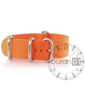 VK von Buran01.com WATCH STRAP FOR NATO NYLON STRONG ZULU Orange 26mm