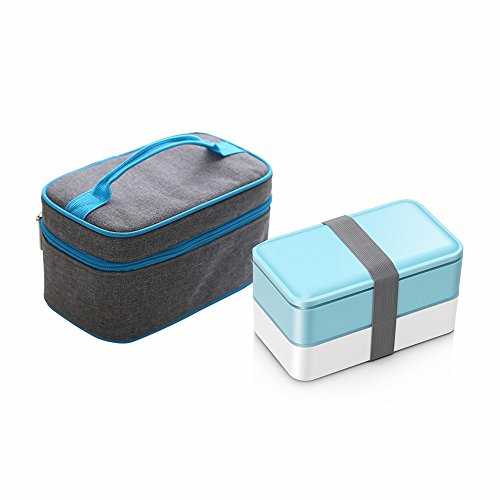 ZOORON Lunch Boxes with 2 Containers/Cutlery, Tote Box Set with Oxford Thermal Insulated Lunch Cooler Bag Ice Pack Food Carriers (B2)