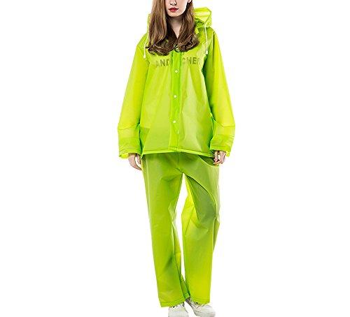 GLJJQMY Regenmantel Anzug Herren und Damen Motorrad wasserdichte Jacke Anzug Mantel Hosen Wasserdichter Regenponcho (Color : Green, Size : L) - Isolierte Arbeit Hosen