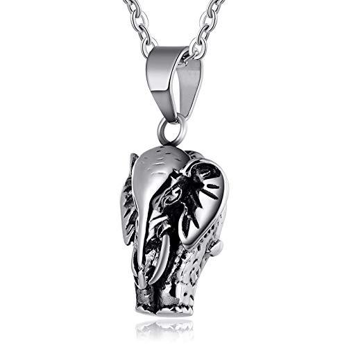 Beydodo Edelstahl Herren Halskette Elefant Anhänger Kette Silber Freundschaftskette Hip Hop Kette