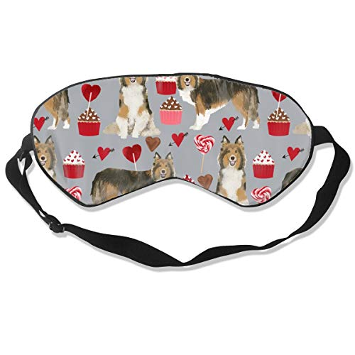 Sheltie Love Dogs Valentines Day Shetland Sheepdog Silk Sleep Mask Comfortable Blindfold Eye mask Adjustable for Men, Women or Kids -