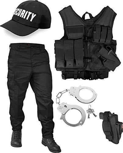 normani Security Kostüm bestehend aus taktischer Weste, BDU-Hose, Handschellen und Security Cap Größe M