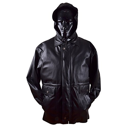 Qtl Quality Men's Regular Leather Jacket with Furr Lining and Hood - Black