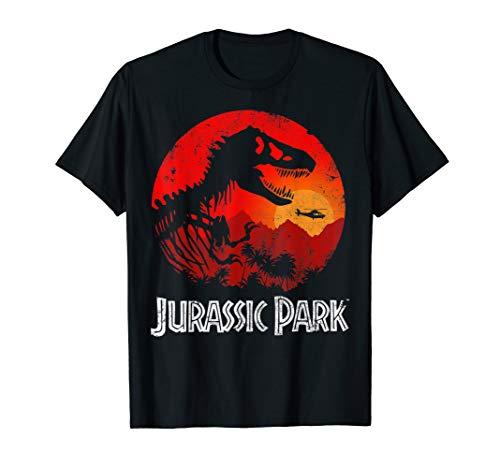 Jurassic Park T-Rex Silhouette Jungle Sunset  T-Shirt -