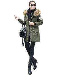 parka fille 12 ans hiver capuche fourrure manteau Trench coat veste Vert armee Etiquette
