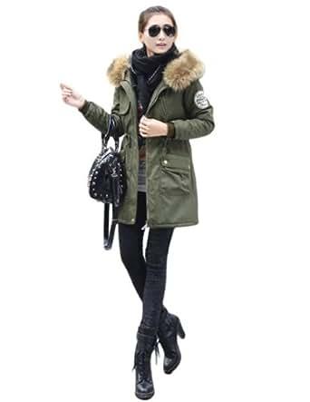 manteau femme capuche hiver fourrure parka femme trench pas cher vert armee etiquette xxxl. Black Bedroom Furniture Sets. Home Design Ideas