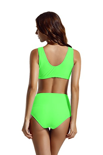Zeraca Damen Racerback Zipper High Waisted Bikini Badeanzug Cabana Green