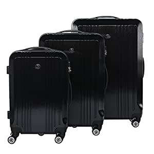 FERGÉ luggage set 3 piece hard shell trolley CANNES suitcase set 4 twin spinner wheels black