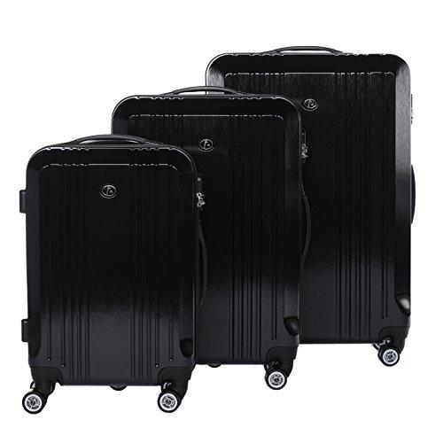FERGÉ Dreier Kofferset CANNES Trolley-Koffer leicht Reisekoffer Hartschale | Set 3-teilig Hartschalenkoffer 4 Zwillingsrollen (360°) | Koffer Schwarze Metal...