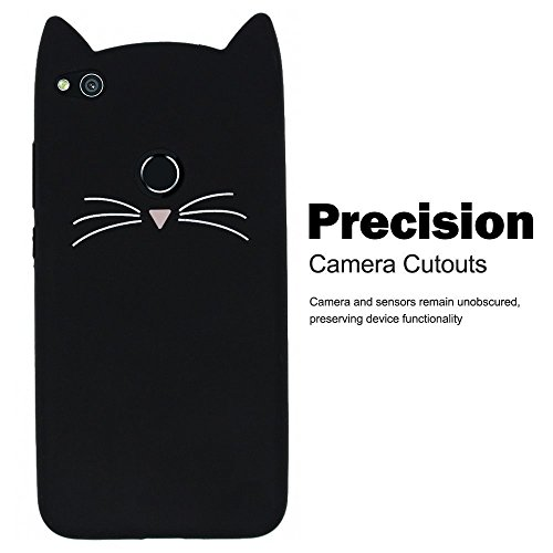 SevenPanda Hülle für Hua Wei P8 Lite 2017, P8 Lite 2017 3D Silikon Schutzhülle Tasche Katze Design Cartoon Cute Beard Katze TPU Schutzhülle Case Cover mit Kratzfeste Tasche Schale Bumper - Schwarz