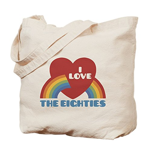CafePress - I Love Eighties - Natural Canvas Tote Bag, Cloth Shopping Bag