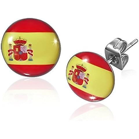 Cameleon-Shop-Orecchini a perno in acciaio inossidabile, motivo: bandiera della Spagna, 10 mm