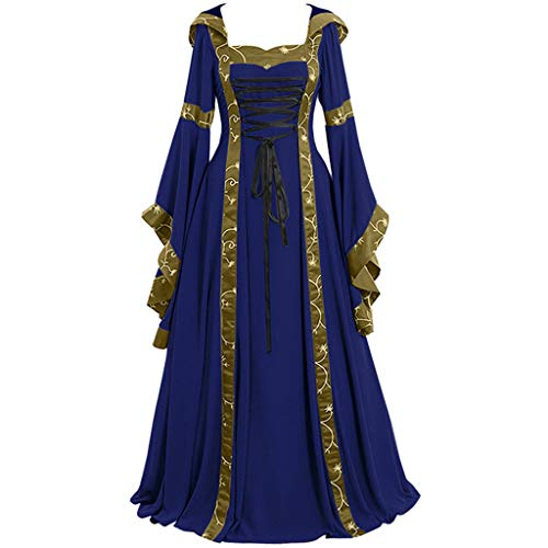 Riou Halloween Kostüm Damen Gothic Kleid Mittelalter Vintage Steampunk Renaissance Empire Queen Cosplay Kleider mit Trompetenärmel Bodenlange Partykleider