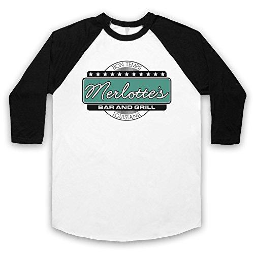 Inspiriert durch True Blood Merlotte's Bar & Grill Unofficial 3/4 Hulse Retro Baseball T-Shirt Weis & Schwarz