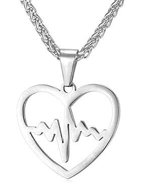 MESE London Herzschlag-Halskette Edelstahl-Liebes-Silber-Anhänger - Elegante Geschenkbox