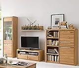 Wohnwand Pisa 28 Eiche Bianco massiv 4-teilig Medienwand TV-Wand Wohnzimmer TV-Möbel