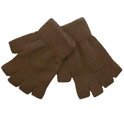 ECYC Half Finger Fingerlose stricken Handgelenk Handschuh Winter Warm für Frauen Männer, Braun