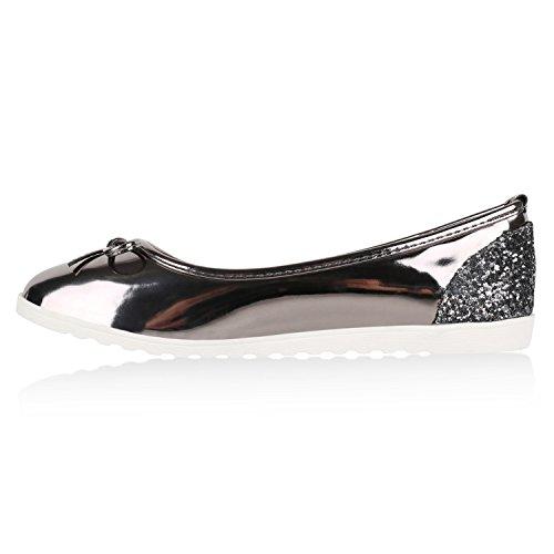 Damen Slipper Loafers Lack Metallic Schuhe Flats Profilsohle Grau Metallic