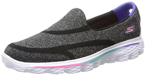Skechers GO Walk 2 Supersock Girls Shoes Junior 5/38 Black